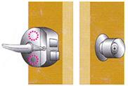 面付箱錠_丸型ハンドルタイプ